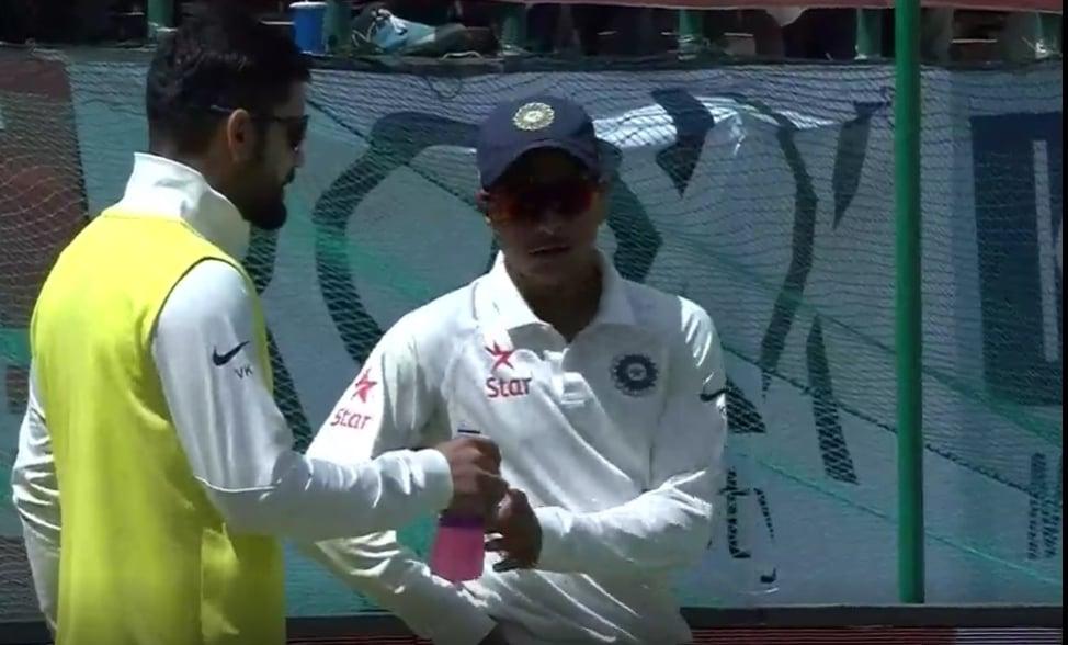 Debutant Kuldeep Yadav dismisses David Warner to claim his first Test wicket 1