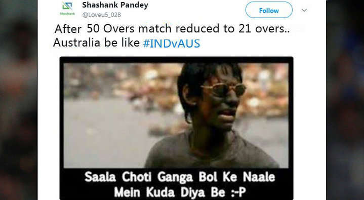 21 ओवर में भी आसान सा लक्ष्य हाशिल न कर पाने की वजह से कुछ यूजर्स ने ऑस्ट्रेलिया के लिए किया ऐसे ट्वीट देख नहीं रुकेगी शाम तक हँसी 6