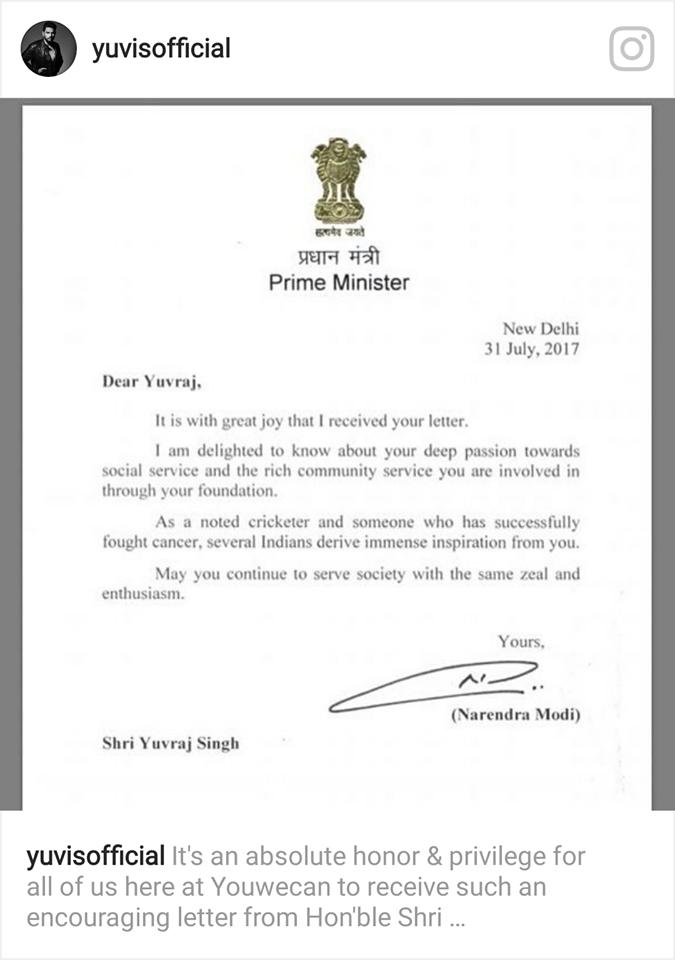 प्रधानमंत्री नरेंद्र मोदी जी ने युवराज को इस कारण लिखा पत्र, युवराज ने भी इन्स्टाग्राम में डाल सबके साथ किया शेयर 1