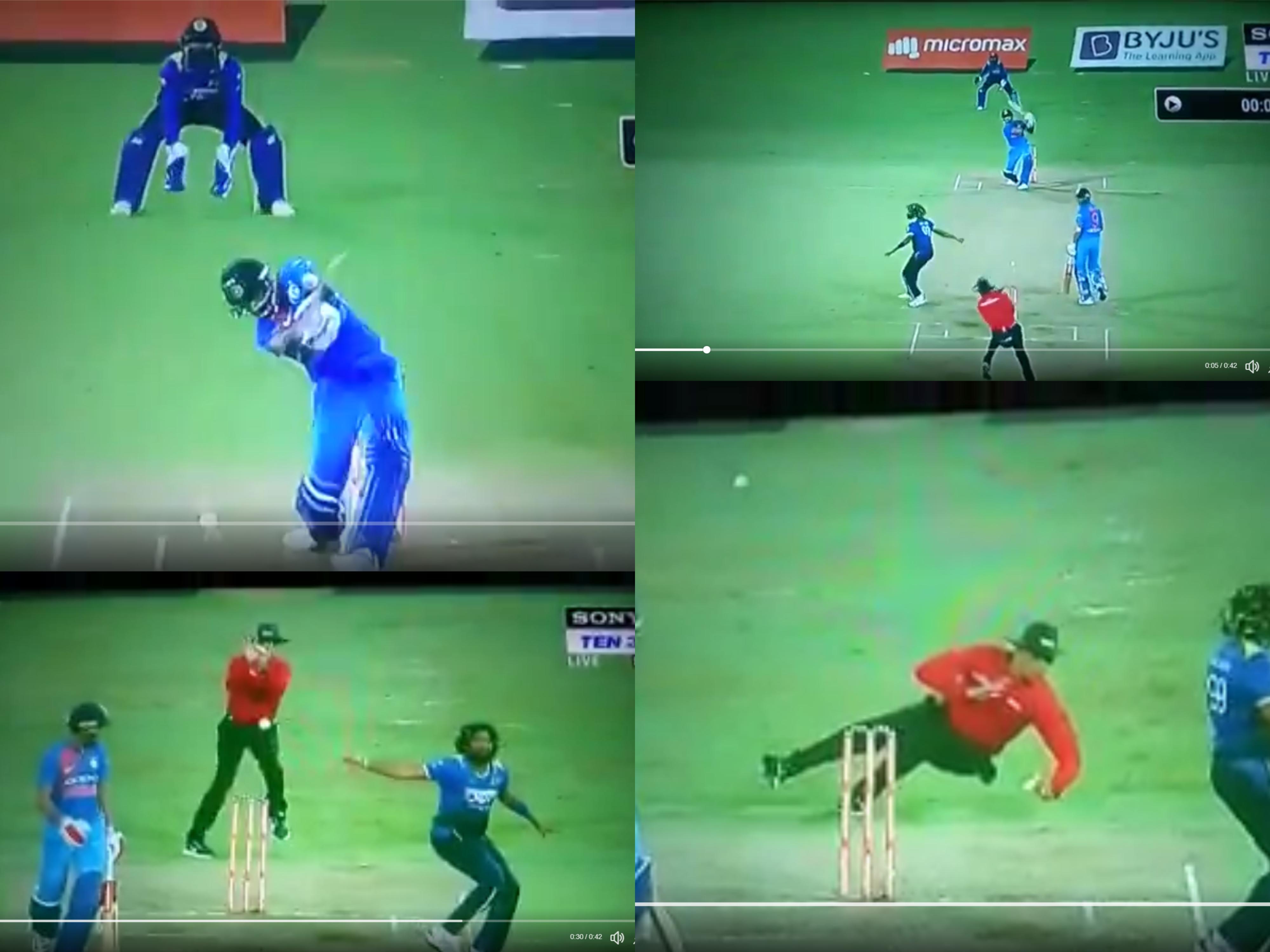वीडियो: 16.5 ओवर में भारतीय पारी के दौरान होने से बाल-बाल बचा दर्दनाक हादसा, जा सकती थी अम्पायर की जान 19