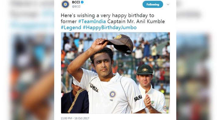 बीसीसीआई ने अनिल कुंबले को दी जन्मदिन की बधाई लेकिन किया ऐसे शब्द का प्रयोग लोगो ने बताया बीसीसीआई को विराट का गुलाम 7