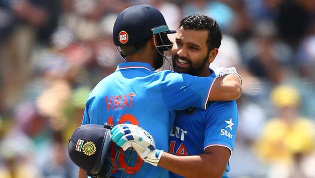 Rohit-Sharma-of-India-is-congratulated-by-Virat-Kholi