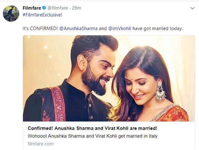 CONFIRMED: विराट-अनुष्का ने की शादी, इटली से आई ये बड़ी खबर 1