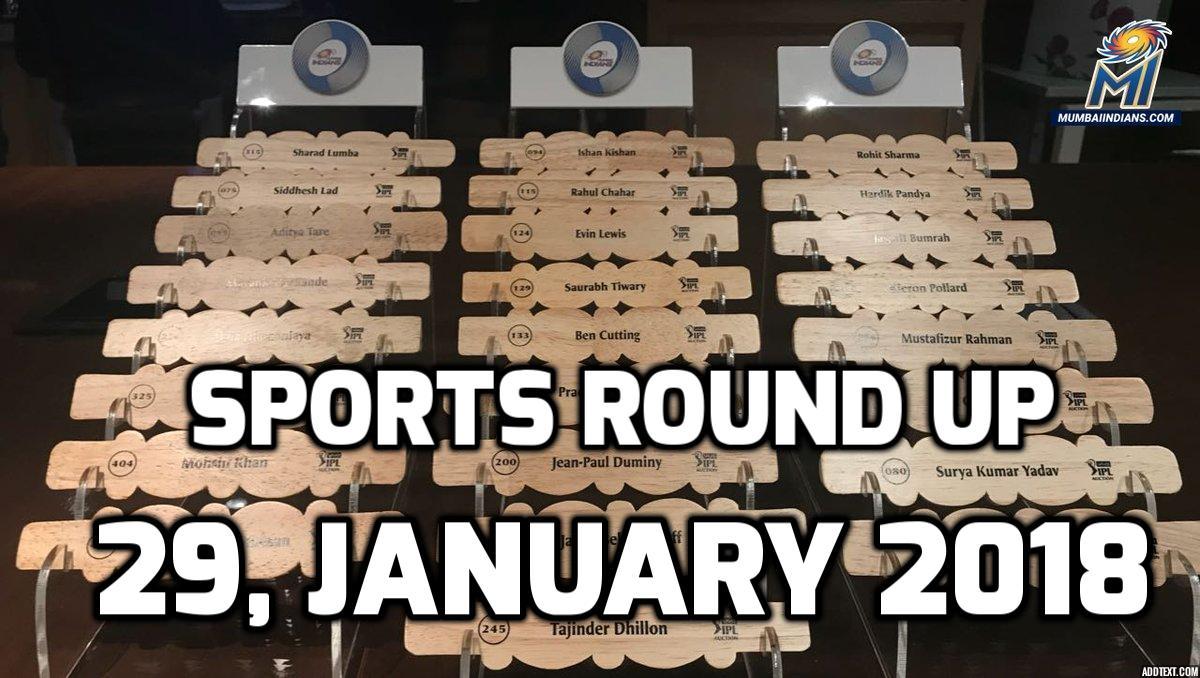 स्पोर्ट्स राउंड अप: एक नजर में पढ़े 29 जनवरी 2018 की खेल से जुड़ी हर एक बड़ी खबर 24
