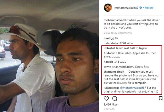 ड्राईवर को बगल में बैठा गाड़ी चलाते हुए तस्वीर शेयर करना मोहम्मद कैफ को पड़ा महंगा, सोशल मीडिया पर लगी फटकार 3