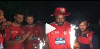 chirs gayle celebrate his win with team, see video