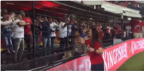 Preity Zinta gone crazy after Punjab win the match and showering Gifts to audience