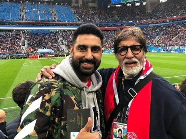 Amitabh and Abhishek Bachchan took part in the World Cup semifinal fun at the stadium