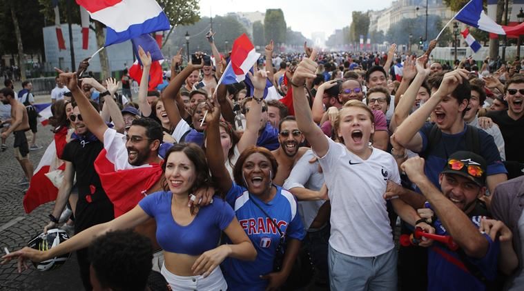 Celebration of victory celebrated by France with flags, songs and pride