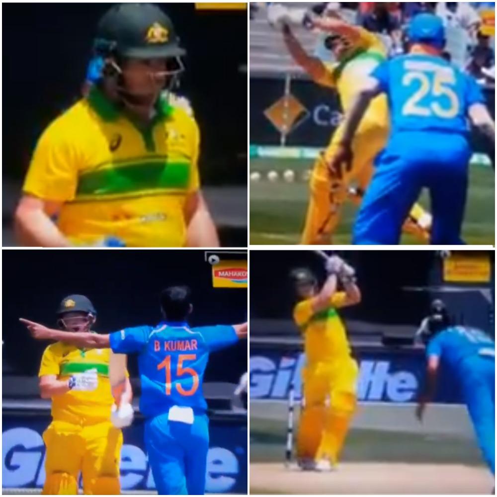 AUSvIND: 6.6 ओवर में भुवनेश्वर कुमार की इस गेंद पर चारों खाने चित हुए एरोन फिंच, कुछ इस तरह गवाई अपनी विकेट 1