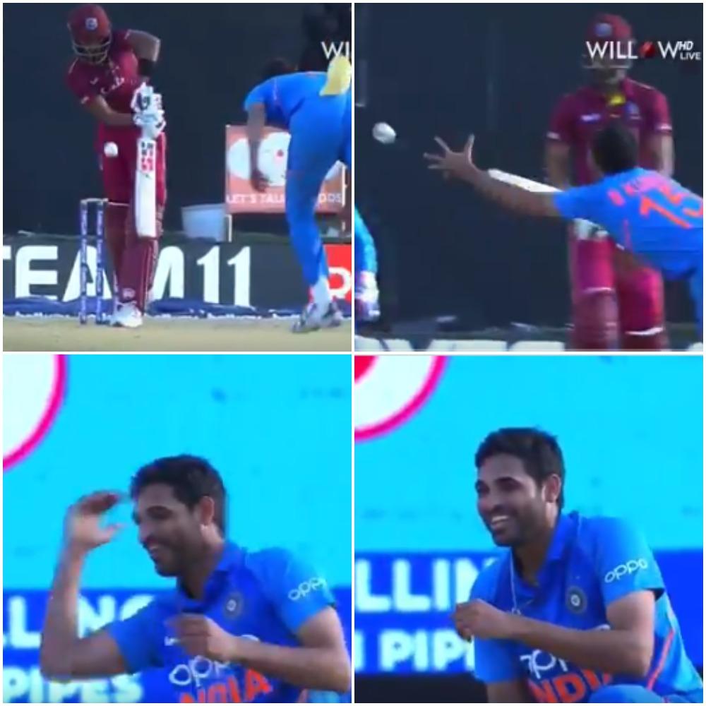 WATCH- भुवनेश्वर कुमार ने अपनी ही गेंद पर पकड़ा एक हाथ से ये अविश्वसनीय कैच, फिर ख़ुश हो कर किया कुछ ऐसा 1