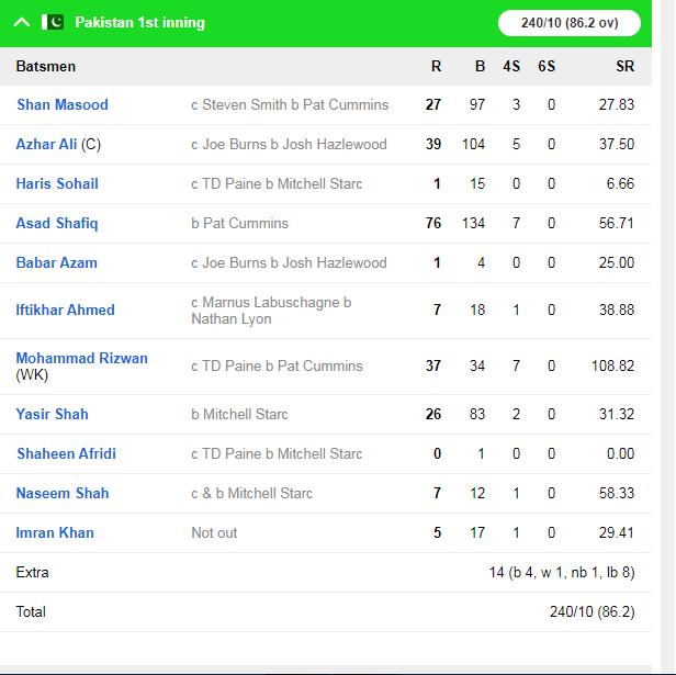 AUSvsPAK : मिचेल स्टार्क की शानदार गेंदबाजी के आगे पहले दिन पाकिस्तान की टीम 240 रन के स्कोर पर हुई आउट 5