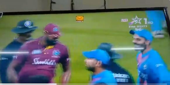 IND vs WI- मुंबई में तीसरे मैच के दौरान विराट कोहली और कीरोन पोलार्ड के बीच हुई नोंकझोंक, देखे वीडियो 3