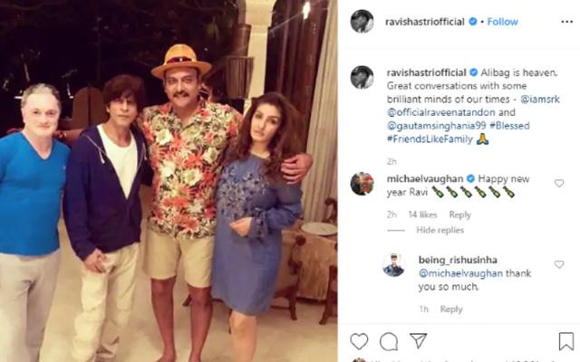 रवि शास्त्री ने बॉलीवुड दिग्गज शाहरुख खान और रवीना टंडन के साथ की फोटो को किया शेयर, तो माइकल वॉन ने किया ये रिप्लाई 3