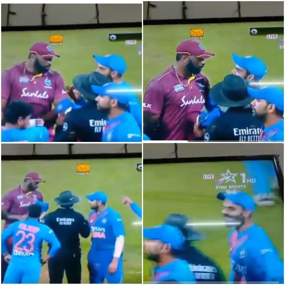 IND vs WI- मुंबई में तीसरे मैच के दौरान विराट कोहली और कीरोन पोलार्ड के बीच हुई नोंकझोंक, देखे वीडियो 1