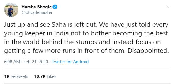 पहले टेस्ट में साहा को न खिलाने पर भारतीय टीम मनेजमेंट पर भड़के हर्षा भोगले, कही यह बात 3