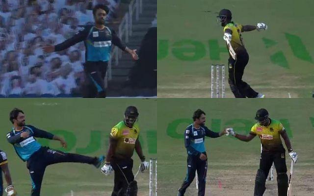 सीपीएल के लाइव मैच में राशिद खान ने की रसेल को लात मारने की कोशिश, देखें वीडियो 8