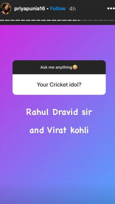 प्रिया पुनिया ने इन 2 पुरुष क्रिकेटरों को बताया अपना आइडल 5