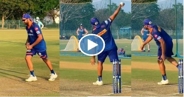 केकेआर के खिलाफ मैच से पहले रोहित शर्मा ने नेट्स में जमकर की गेंदबाजी, देखें वीडियो 9