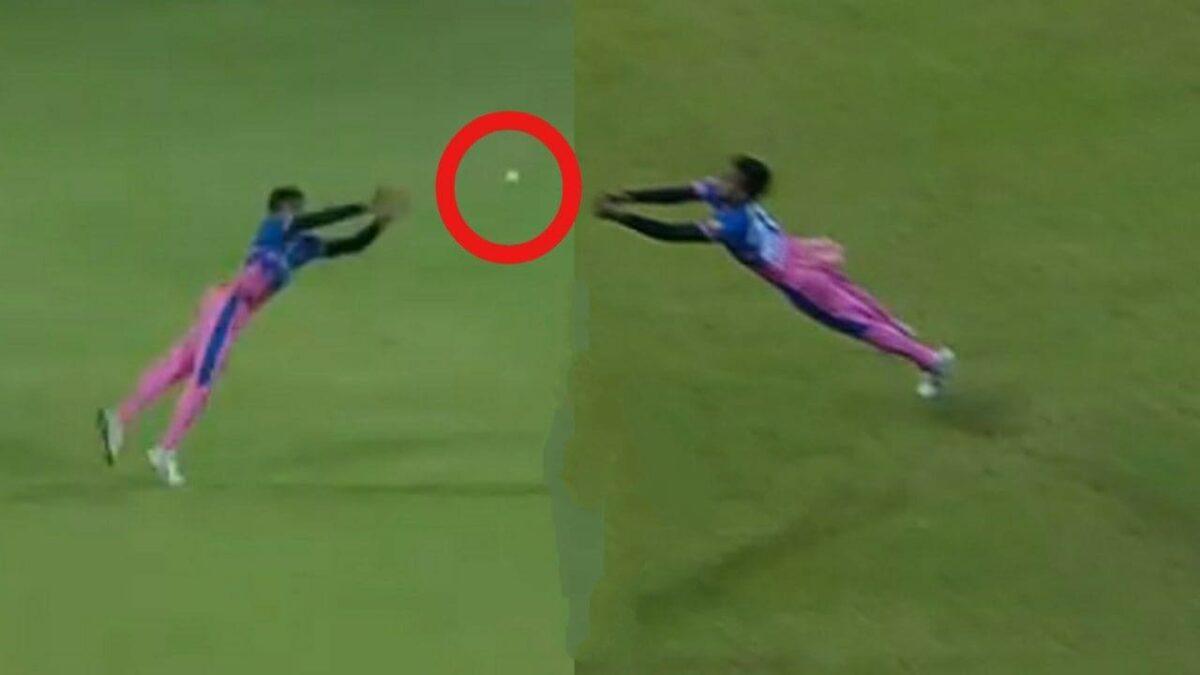 WATCH : चेतन साकरिया ने सुपरमैन की तरह हवा में छलांग लगाकर पकड़ा ऐसा कैच, देख हर कोई दंग 1