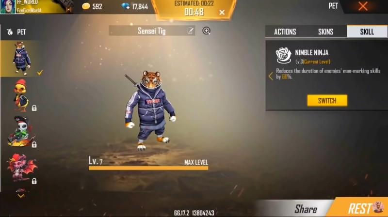 Free Fire Max में Sensei Tiger पेट को कैसे परचेस करें? 3