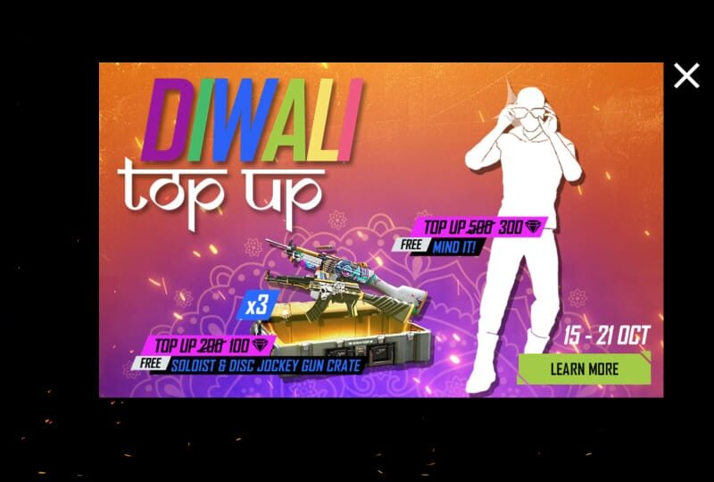 Free Fire में Diwali टॉप-अप इवेंट से मुफ्त में इमोट और गन स्किन कैसे प्राप्त करें? 13